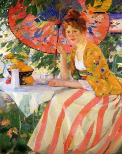 Red-Headed Girl with Parasol - c1912
