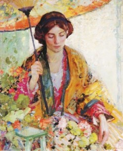 Richard Edward or Emil Miller (American artist, 1875-1943) ) Woman with Umbrella